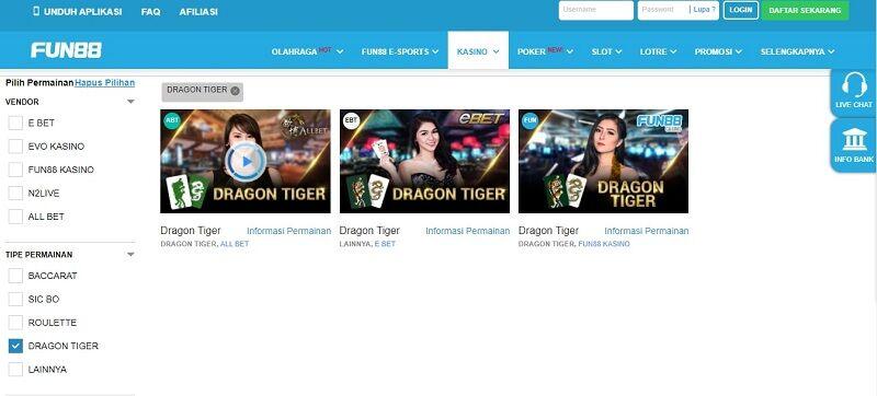 Bermain Dragon Tiger Game Fun88
