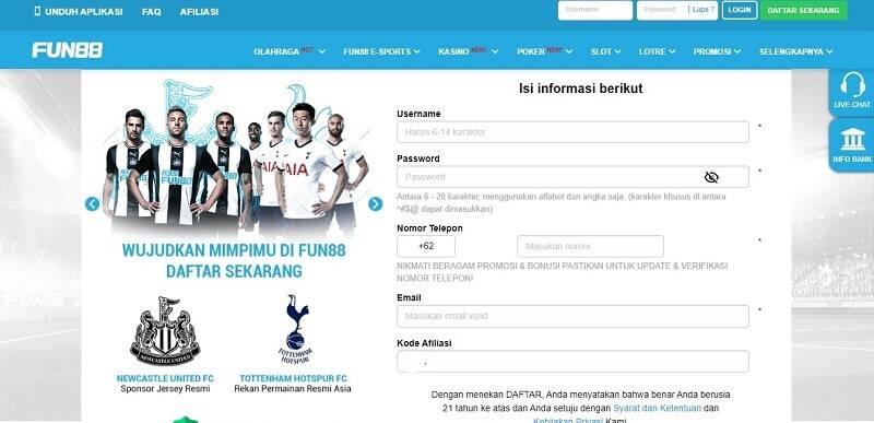 Kebijaksanaan dalam Mendaftar di Indokasino Fun88