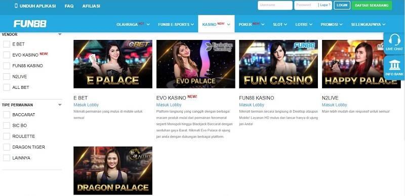 Langkah Penting Bermain Live Casinos di Fun88